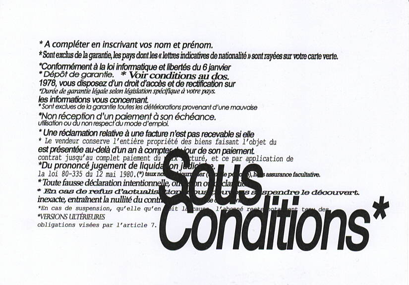 Sous Conditions* verso